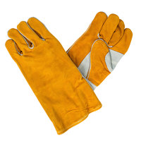 Men's Brown / Gray Premium Side Split Leather Welder's Gloves with Foam Sock Lining - Large - Pair