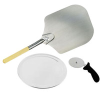 Pizza Oven Peel, Cutter, and 12 inch Aluminum Tray Pizza Oven Accessory Kit