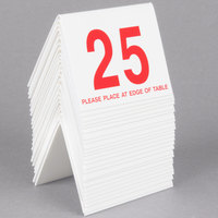Cal-Mil 234 White/Red Double-Sided Number Tents 1-25 - 3 1/2 inch x 3 inch