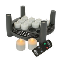 Sterno Products 60312 2.0 12 Piece Amber Rechargeable Flameless Tea Light Set with EasyStack Charging Base and Timer with Remote