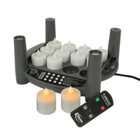 Sterno Products 60304 2.0 12 Piece Amber Rechargeable Flameless Tea Light Set with EasyStack Charging Base, Power Adapter and Timer Remote Starter Kit