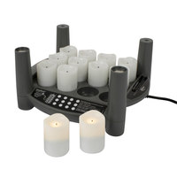 Sterno Products 60286 2.0 12 Piece Warm White Rechargeable Flameless Votive Set with EasyStack Charging Base and Power Adapter Starter Kit