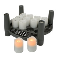 Sterno Products 60292 2.0 12 Piece Amber Rechargeable Flameless Votive Set with Cordless EasyStack Charging Base