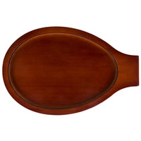 Choice 12 1/2 inch x 8 inch Oval Mahogany Wood Skillet Underliner