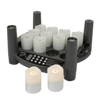 Sterno Products 60294 2.0 12 Piece Warm White Rechargeable Flameless Votive Set with Cordless EasyStack Charging Base