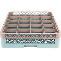 Noble Products 20-Compartment Gray Full-Size Glass Rack with 1 Brown Extender - 19 3/8 inch x 19 3/8 inch x 5 5/8 inch