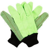 Hi-Vis Lime Cotton Double Palm Grip Gloves with Black PVC Dotted Palm Coating - Large - Pair   - 12/Pack