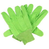 Hi-Vis Lime Polyester / Cotton Double Palm Work Gloves - Large - Pair - 12/Pack