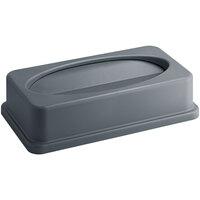 Lavex Janitorial Gray Slim Rectangular Trash Can Drop Shot Lid