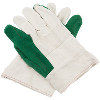 Heavy Weight Green Cotton Double Palm Work Gloves with Burlap Lining - 12/Pack