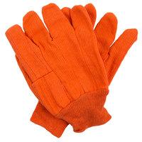 Hi-Vis Orange Cotton Double Palm Work Gloves - Large - Pair - 12/Pack