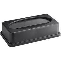 Lavex Janitorial Black Slim Rectangular Trash Can Drop Shot Lid