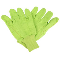 Hi-Vis Yellow Cotton Double Palm Work Gloves - Large - Pair - 12/Pack