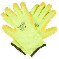Power-Cor Ultra Hi-Vis Yellow HPPE / Steel / Glass Fiber Cut Resistant Gloves with Hi-Vis Yellow Crinkle Latex Palm Coating - Medium - Pair
