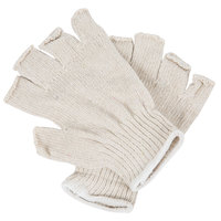 Standard Weight Natural Polyester / Cotton Fingerless Gloves - Large - Pair - 12/Pack