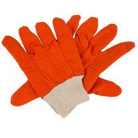 Hi-Vis Orange Polyester / Cotton Double Palm Work Gloves - Large - Pair - 12/Pack