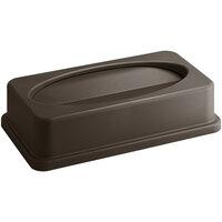 Lavex Janitorial Brown Slim Rectangular Trash Can Drop Shot Lid