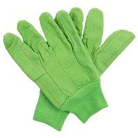 Hi-Vis Lime Cotton Double Palm Work Gloves - Large - Pair - 12/Pack