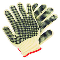 Aramid / Cotton Grip Gloves with Two-Sided PVC Dotted Coating - Large - Pair - 12/Pack