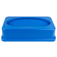 Lavex Janitorial Blue Slim Trash Can Swing Lid