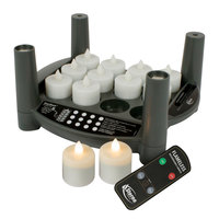 Sterno 60314 2.0 12 Piece Warm White Rechargeable Flameless Tea Light Set with EasyStack Charging Base and Timer with Remote
