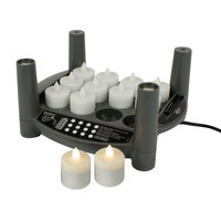 Sterno Products 60282 2.0 12 Piece Warm White Rechargeable Flameless Tea Light Set with EasyStack Charging Base and Power Adapter Starter Kit