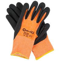 Cor-Tex Hi-Vis Orange HPPE / Synthetic Fiber Gloves with Black Foam Nitrile Palm Coating - Medium - Pair