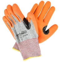 Machinist Salt and Pepper HPPE / Glass Fiber Cut Resistant Gloves with Orange Sandy Nitrile Palm Coating - Large - Pair