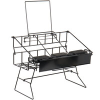 Choice 19 inch x 11 1/2 inch x 12 1/4 inch Black Wire 3 Compartment Airpot Rack with Drip Trays