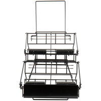 Choice 14 inch x 23 1/8 inch x 17 1/2 inch Black Wire 4 Compartment Airpot Rack with Drip Trays