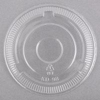 Choice 5-12 oz. Clear Plastic Flat Lid, No Slot   - 50/Pack