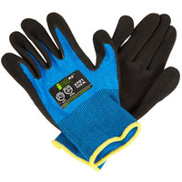iON A2 Sapphire Blue HPPE / Synthetic Fiber Gloves with Black Sandy Nitrile Palm Coating - Medium - Pair
