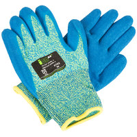 iON A4 Aqua HPPE / Glass Fiber Cut Resistant Gloves with Blue Crinkle Latex Palm Coating - Medium - Pair