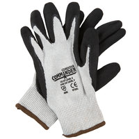 Commander White HPPE / Steel / Glass Fiber Cut Resistant Gloves with Black Foam Nitrile Palm Coating - Large - Pair