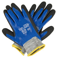 Tuf-Cor Salt and Pepper HPPE / Synthetic Fiber Gloves with Blue / Black Nitrile Coating - Large - Pair