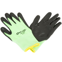 Cor-Tex Hi-Vis Lime HPPE / Synthetic Fiber Gloves with Black Foam Nitrile Palm Coating - Large - Pair