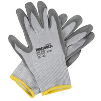 Threshold Gray HPPE / Steel / Glass Fiber Cut Resistant Gloves with Gray Polyurethane Palm Coating - Large - Pair