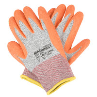 Machinist Salt and Pepper HPPE / Glass Fiber Cut Resistant Gloves with Orange Crinkle Latex Palm Coating - Large - Pair