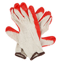 Economy Weight Natural Polyester / Cotton Work Gloves with Red Smooth Latex Palm Coating - Large - Pair - 12/Pack