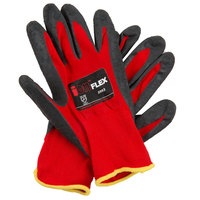 iON Flex Hi-Vis Red Nylon Gloves with Dark Gray Crinkle Latex Palm Coating - Large - Pair - 12/Pack