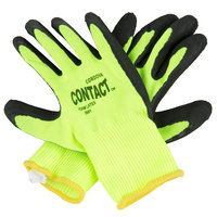 Contact Hi-Vis Nylon Gloves with Black Foam Latex Palm Coating - Large - Pair - 12/Pack