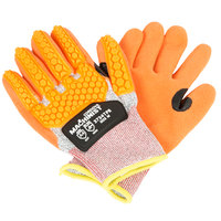 Machinist Salt and Pepper HPPE / Glass Fiber Cut Resistant Gloves with Orange Sandy Nitrile Palm Coating and TPR Protectors - Large - Pair