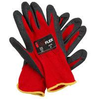 iON Flex Hi-Vis Red Nylon Gloves with Dark Gray Crinkle Latex Palm Coating - Medium - Pair - 12/Pack