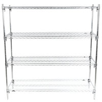 Metro A566C Super Adjustable Super Erecta 4-Shelf Chrome Wire Stationary Starter Shelving Unit - 24 inch x 60 inch x 63 inch