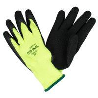 Cold Snap Hi-Vis Green Loop-In Terry Gloves with Black Foam Latex Palm Coating - Large - Pair