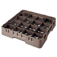 Cambro 16S434167 Camrack 5 1/4 inch High Customizable Brown 16 Compartment Glass Rack