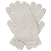 Natural Polyester / Cotton Work Gloves with Black PVC Palm Coating - Large - Pair - 12/Pack