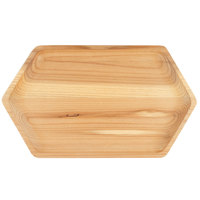 Bambu 170150 10 inch x 6 inch Rectangular Hexagon Cedar Wood Serving Tray