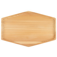 Bambu 170130 15 inch x 10 inch Rectangular Hexagon Cedar Wood Serving Tray