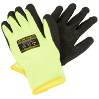 Monarch Sub-Zero Hi-Vis Green Engineered Fiber Cut Resistant Gloves with Black Foam Latex Palm Coating - Large - Pair
